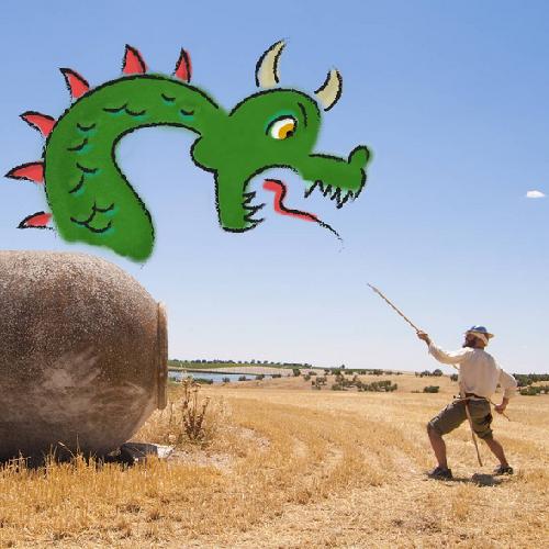 José Ramón, aka Don Quixote, fighting a dragon