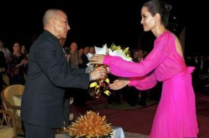 Angelina Jolie and Cambodian people